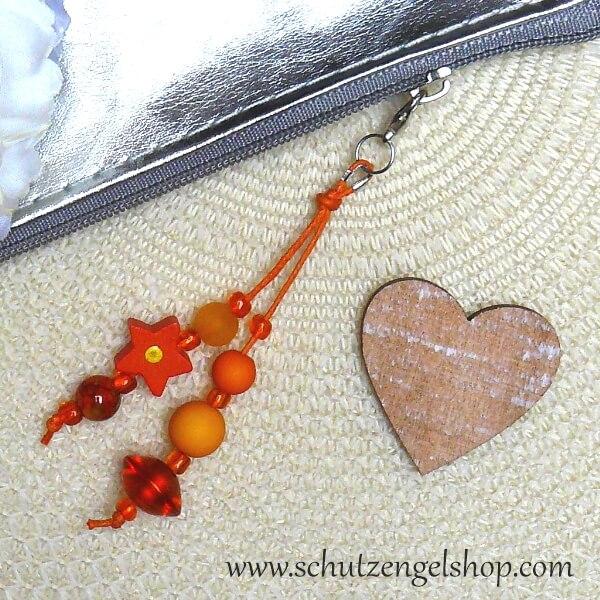 Taschenbaumler mini silber mit Perlen in orange