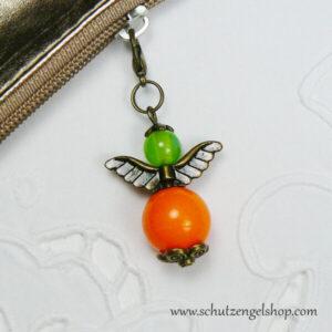 Schutzengel Alma bronze Perlen orange und grün