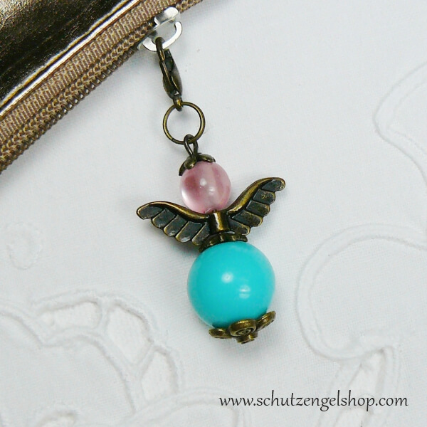 Schutzengel Alma bronze Perlen türkis und rosa